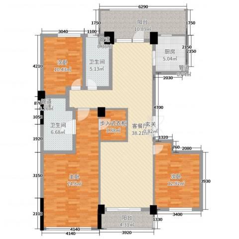 百合花园3室2厅2卫1厨154.00㎡户型图