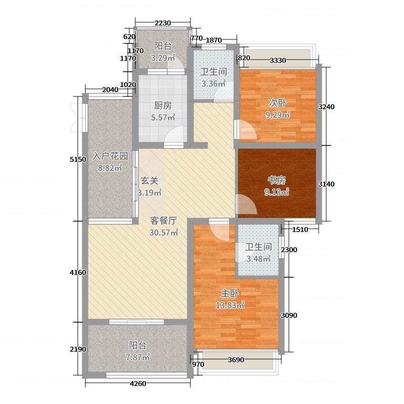洛阳升龙城119.00㎡一期C1户型3室3厅2卫1厨