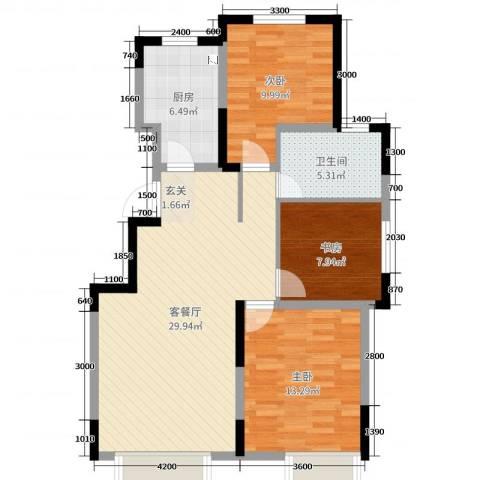 东安瑞凯国际3室2厅1卫1厨107.00㎡户型图