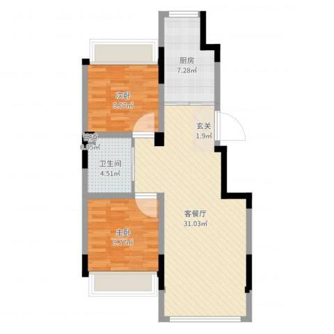 巴黎左岸2室2厅1卫1厨77.00㎡户型图