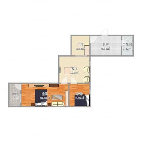 沪东新村2室1厅1卫1厨73.00㎡户型图