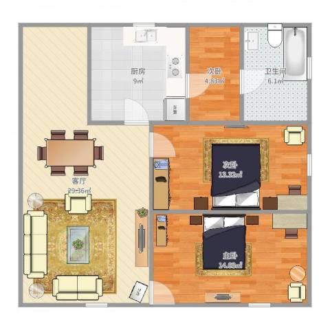 沪东新村3室1厅1卫1厨96.00㎡户型图