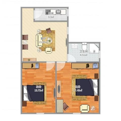 沪东新村2室1厅1卫1厨69.00㎡户型图