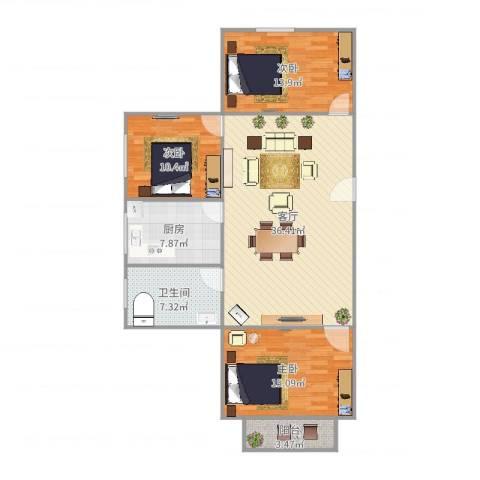 沪东新村3室1厅1卫1厨118.00㎡户型图