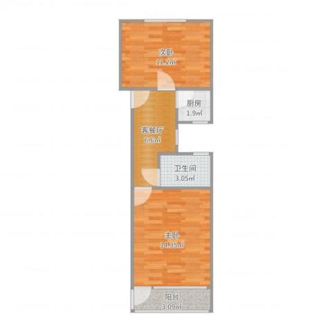 沪东新村2室2厅1卫1厨50.00㎡户型图