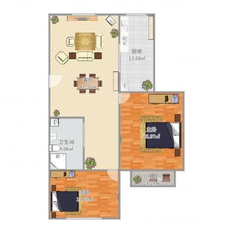 沪东新村2室1厅1卫1厨146.00㎡户型图