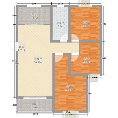 中豪国际星城三期3室2厅1卫0厨119.00㎡户型图