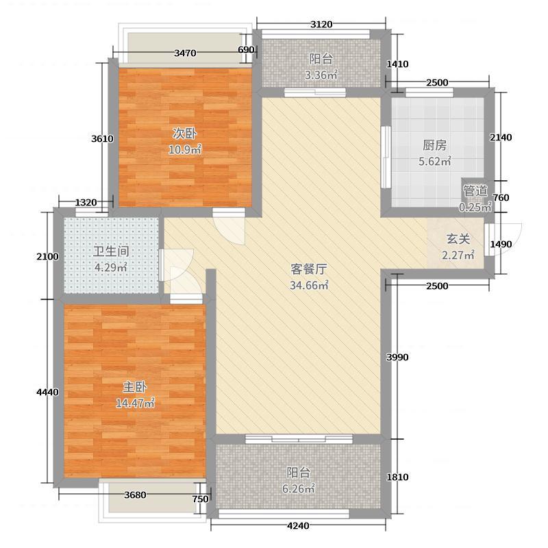 绿地璀璨天城99.70㎡户型2室2厅1卫1厨