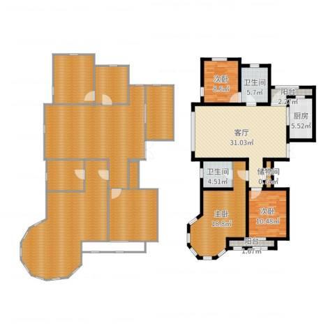 新湖・香格里拉3室1厅2卫1厨264.00㎡户型图