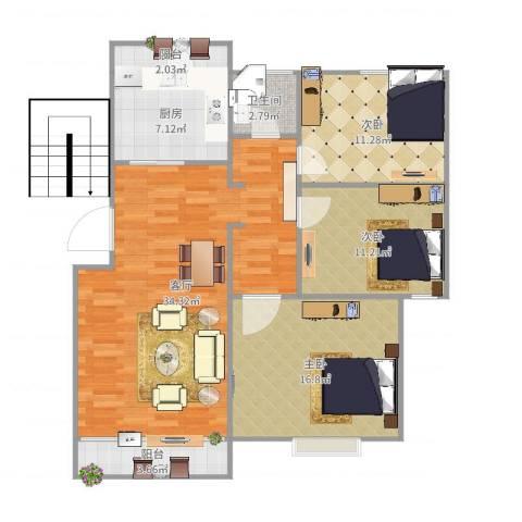 丽泽荷亭苑3室1厅1卫1厨112.00㎡户型图