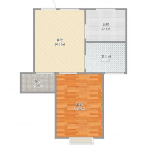 丽泽荷亭苑1室1厅1卫1厨59.00㎡户型图