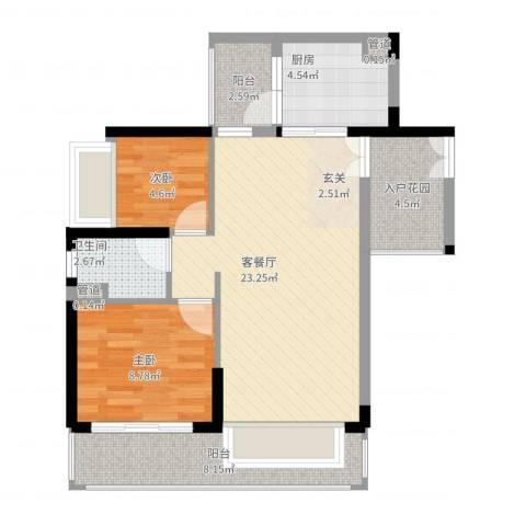 星汇云锦2室2厅1卫1厨86.00㎡户型图