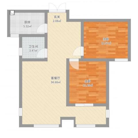 桃苑红杉郡2室2厅1卫1厨83.00㎡户型图