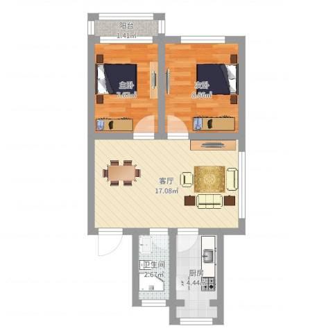 太湖花园三期2室1厅1卫1厨53.00㎡户型图