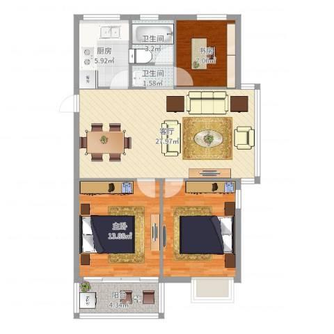 港城嘉苑2室1厅2卫1厨96.00㎡户型图