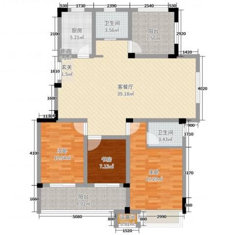 旷达太湖花园3室2厅2卫1厨127.00㎡户型图