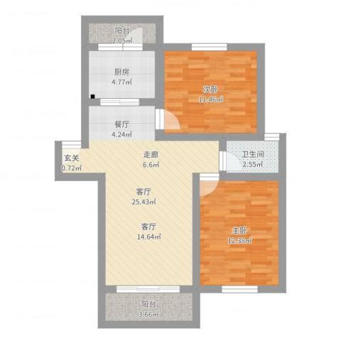 恒大华城上河苑2室1厅1卫1厨78.00㎡户型图