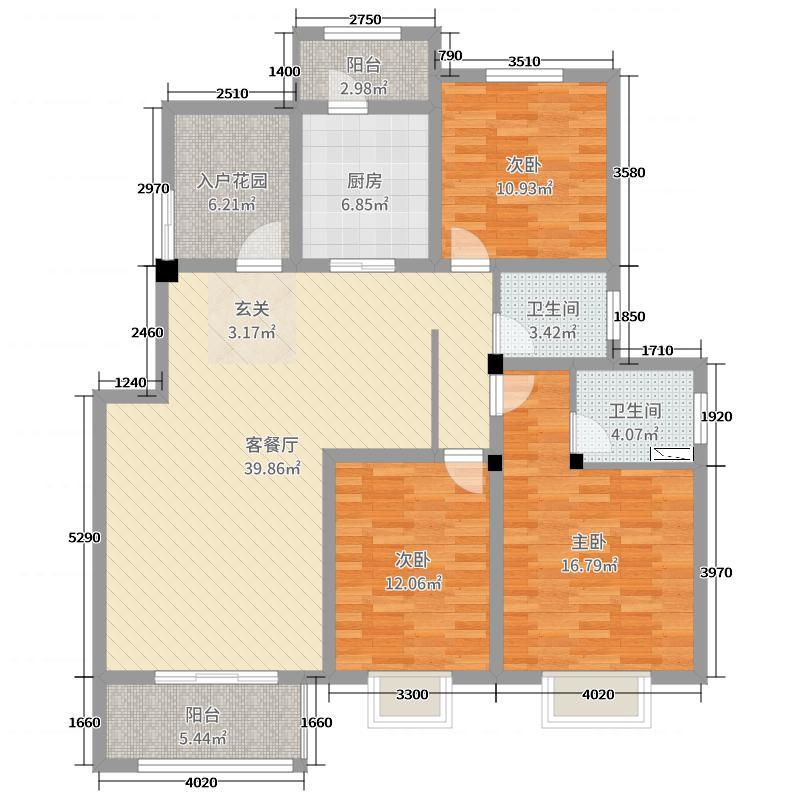 苹果花园134.00㎡户型3室3厅2卫1厨