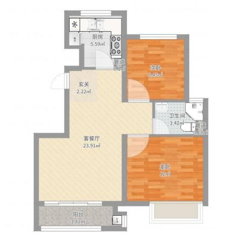 象屿上海年华2室2厅1卫1厨72.00㎡户型图