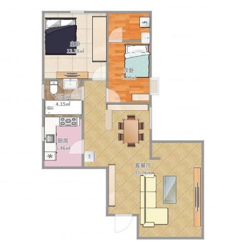 穗园小区2室2厅1卫1厨86.00㎡户型图