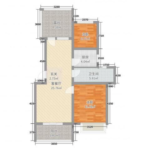 东盛・盛世城2室2厅1卫1厨85.00㎡户型图