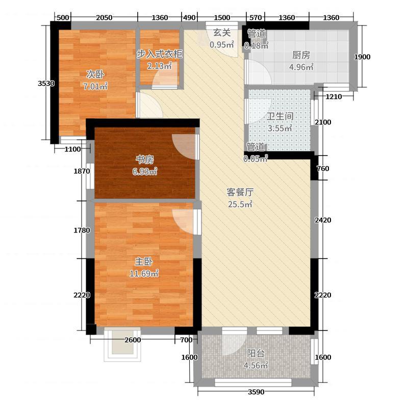 揽胜公园94.31㎡3号楼3B户型3室3厅1卫1厨