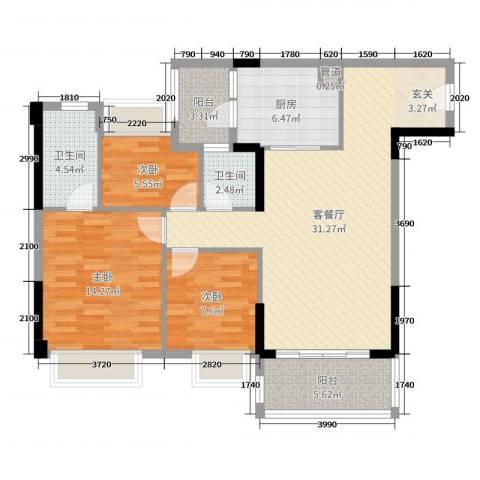 汇泰锦城3室2厅2卫1厨107.00㎡户型图