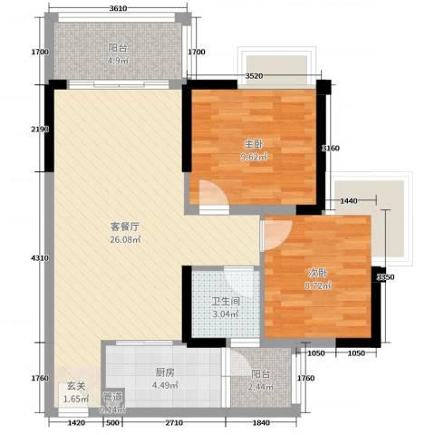 汇泰锦城2室2厅1卫1厨77.00㎡户型图
