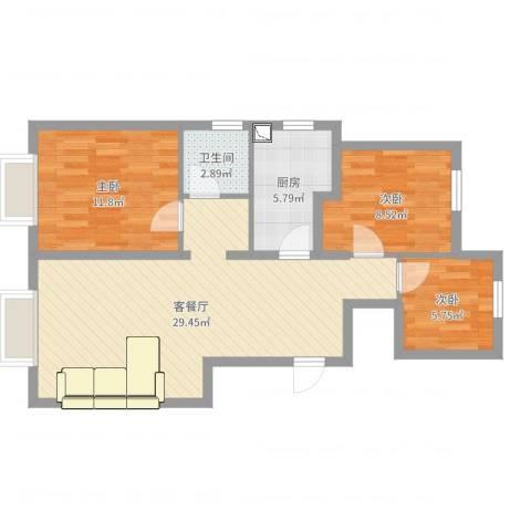 东丽湖万科城鹭湖3室2厅1卫1厨80.00㎡户型图