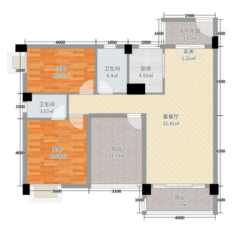 美林山畔公馆100.00㎡6幢01/02户型3室3厅2卫1厨