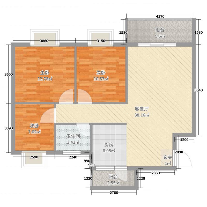馨雅小苑99.75㎡1#楼C户型3室3厅1卫1厨