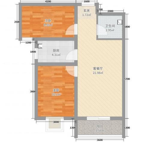 领南庄园2室2厅1卫1厨80.00㎡户型图