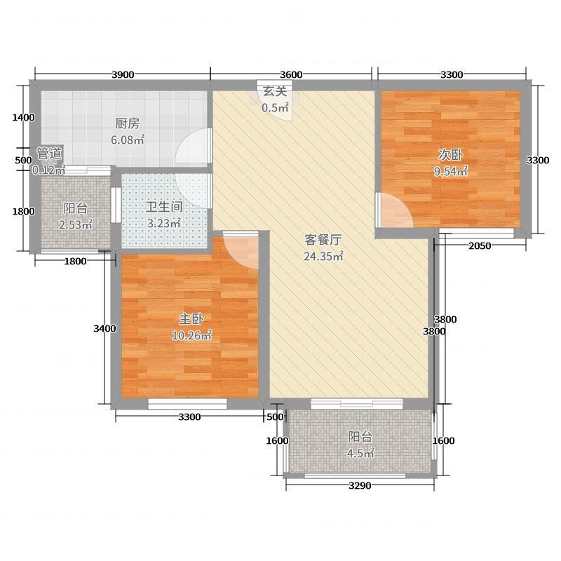 翰林雅居二期玺园82.37㎡a7户型2室2厅1卫1厨