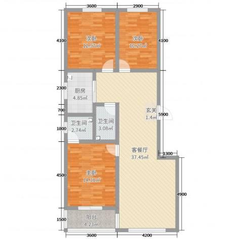 领南庄园3室2厅2卫1厨125.00㎡户型图