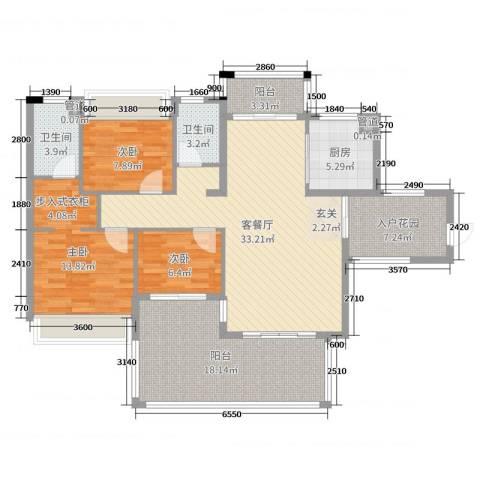 水映山3室2厅2卫1厨131.00㎡户型图