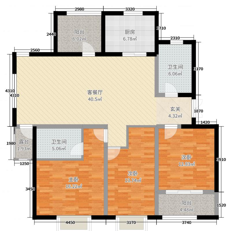 伴山壹号紫林园142.00㎡6、7#e3户型3室3厅2卫