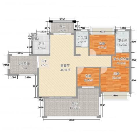 水映山3室2厅2卫1厨128.00㎡户型图