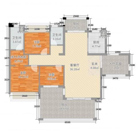 水映山3室2厅2卫1厨127.00㎡户型图