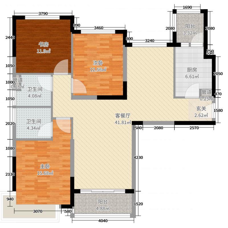 恒大翡翠华庭132.00㎡7#2单元4号户型3室3厅2卫1厨