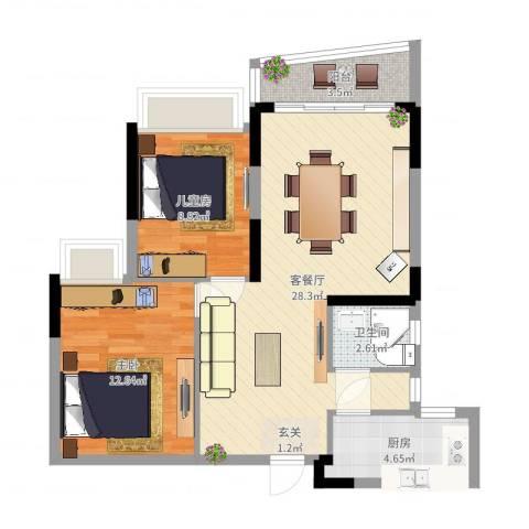 骏景约克公寓2室2厅1卫1厨76.00㎡户型图