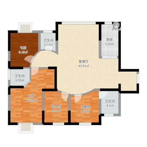 森林别墅4室2厅3卫1厨128.00㎡户型图