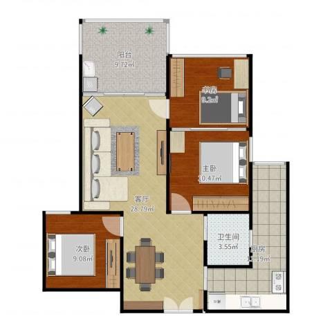 云立方3室1厅1卫1厨102.00㎡户型图