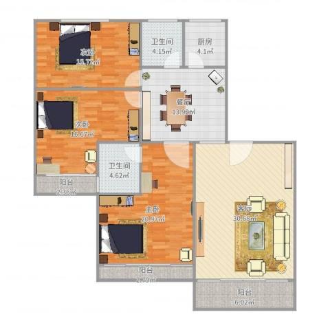 福隆花园3室2厅2卫1厨153.00㎡户型图