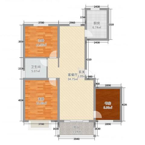 昊和沁园3室2厅1卫1厨110.00㎡户型图