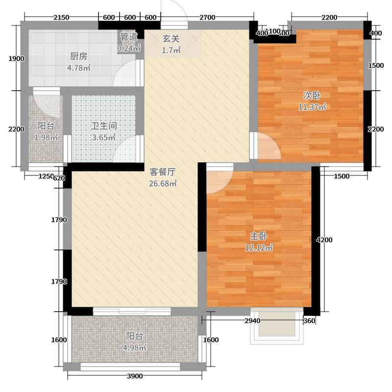 中央新城98.96㎡二期户型2室2厅1卫