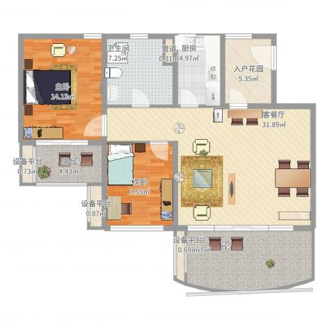 华润小径湾2室2厅1卫1厨131.00㎡户型图