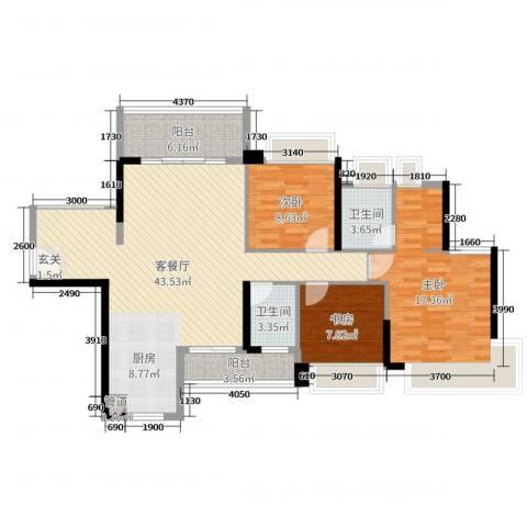 中澳春城3室2厅2卫0厨94.33㎡户型图