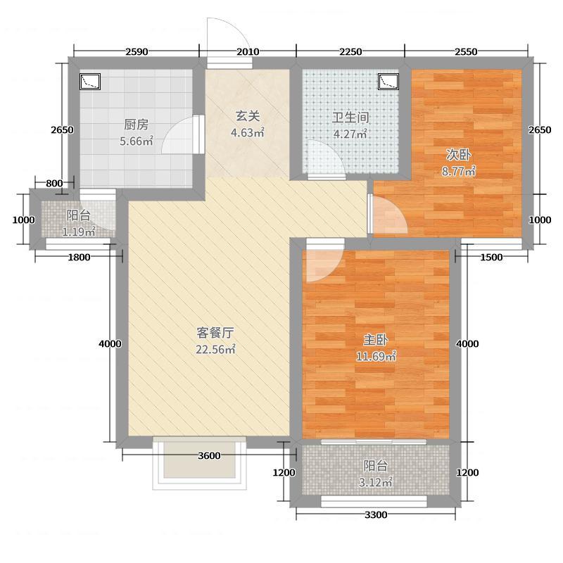 卓达太阳城78.67㎡A2户型2室2厅1卫1厨