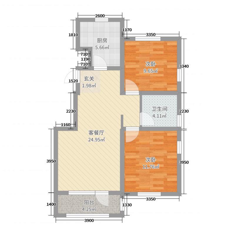 四季花园90.00㎡9#楼S2居户型2室2厅1卫1厨