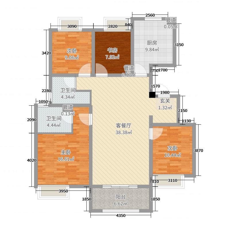 万科城135.00㎡三期B1区洋房Y3户型4室4厅2卫1厨